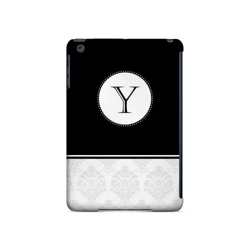 Black Y w/ White Damask Design - Geeks Designer Line Monogram Series Hard Case for Apple iPad Mini