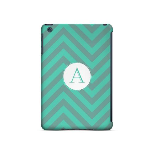 Seafoam Green A on Zig Zags - Geeks Designer Line Monogram Series Hard Case for Apple iPad Mini