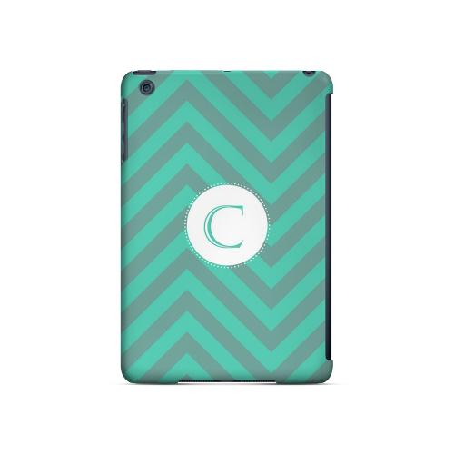 Seafoam Green C on Zig Zags - Geeks Designer Line Monogram Series Hard Case for Apple iPad Mini