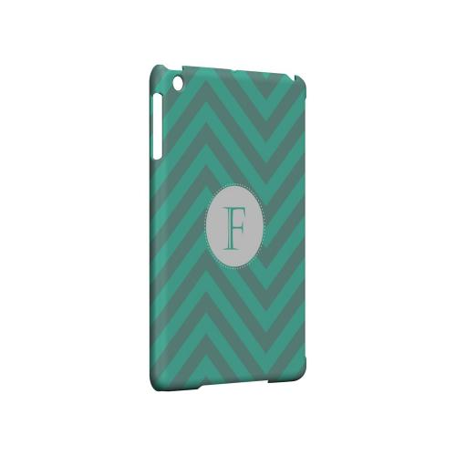 Seafoam Green F on Zig Zags - Geeks Designer Line Monogram Series Hard Case for Apple iPad Mini