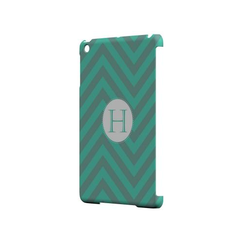 Seafoam Green H on Zig Zags - Geeks Designer Line Monogram Series Hard Case for Apple iPad Mini