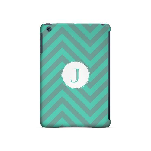 Seafoam Green J on Zig Zags - Geeks Designer Line Monogram Series Hard Case for Apple iPad Mini