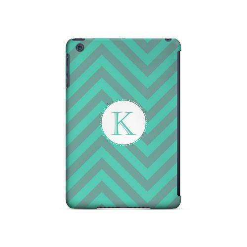 Seafoam Green K on Zig Zags - Geeks Designer Line Monogram Series Hard Case for Apple iPad Mini