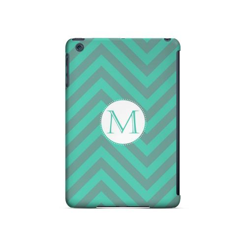 Seafoam Green M on Zig Zags - Geeks Designer Line Monogram Series Hard Case for Apple iPad Mini
