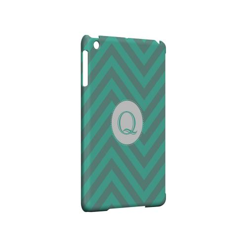 Seafoam Green Q on Zig Zags - Geeks Designer Line Monogram Series Hard Case for Apple iPad Mini
