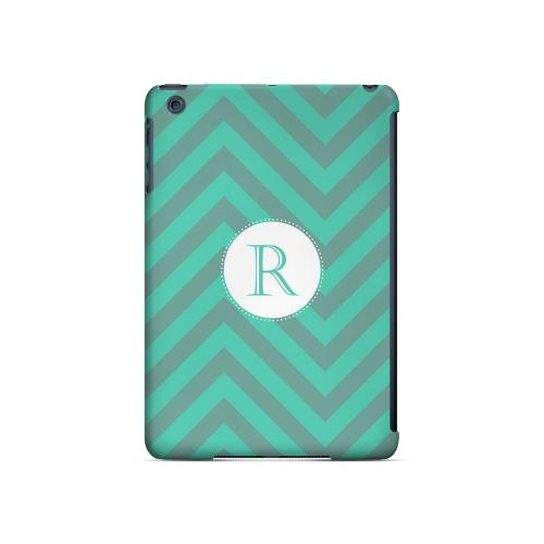 Seafoam Green R on Zig Zags - Geeks Designer Line Monogram Series Hard Case for Apple iPad Mini