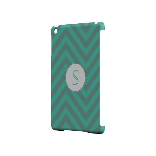 Seafoam Green S on Zig Zags - Geeks Designer Line Monogram Series Hard Case for Apple iPad Mini