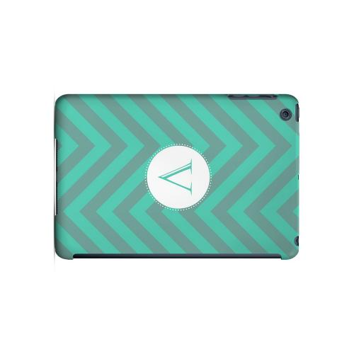 Seafoam Green V on Zig Zags - Geeks Designer Line Monogram Series Hard Case for Apple iPad Mini