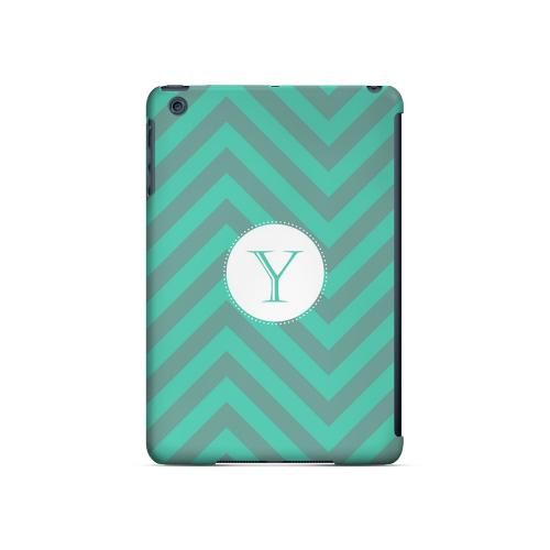 Seafoam Green Y on Zig Zags - Geeks Designer Line Monogram Series Hard Case for Apple iPad Mini
