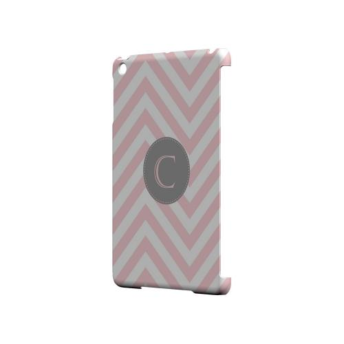 Gray Button C on Pale Pink Zig Zags - Geeks Designer Line Monogram Series Hard Case for Apple iPad Mini