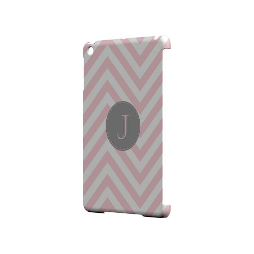 Gray Button J on Pale Pink Zig Zags - Geeks Designer Line Monogram Series Hard Case for Apple iPad Mini