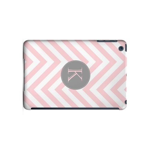 Gray Button K on Pale Pink Zig Zags - Geeks Designer Line Monogram Series Hard Case for Apple iPad Mini