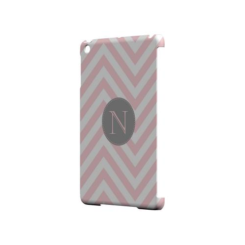 Gray Button N on Pale Pink Zig Zags - Geeks Designer Line Monogram Series Hard Case for Apple iPad Mini