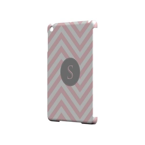 Gray Button S on Pale Pink Zig Zags - Geeks Designer Line Monogram Series Hard Case for Apple iPad Mini