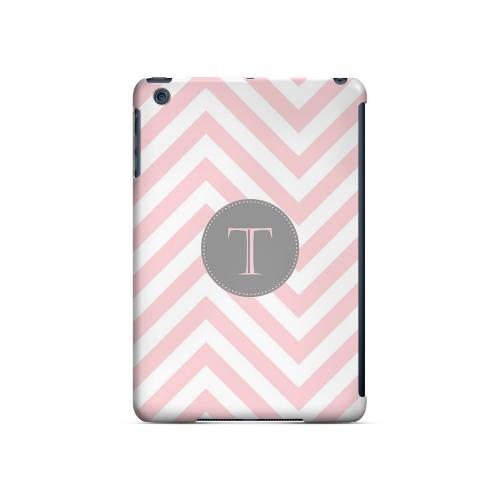 Gray Button T on Pale Pink Zig Zags - Geeks Designer Line Monogram Series Hard Case for Apple iPad Mini