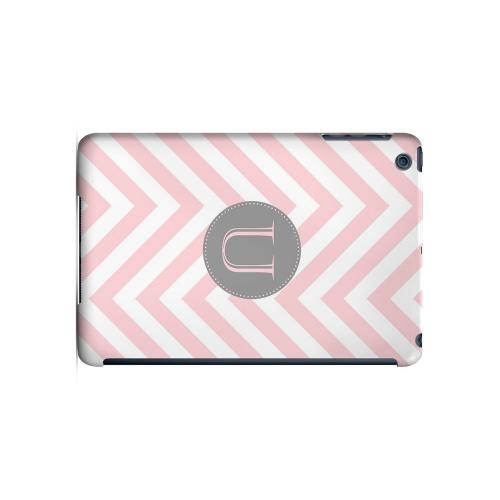 Gray Button U on Pale Pink Zig Zags - Geeks Designer Line Monogram Series Hard Case for Apple iPad Mini