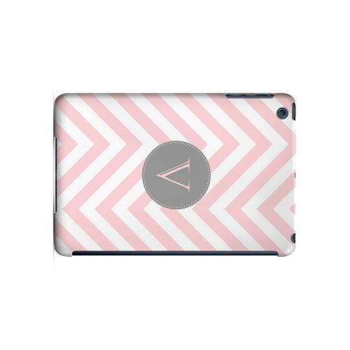 Gray Button V on Pale Pink Zig Zags - Geeks Designer Line Monogram Series Hard Case for Apple iPad Mini