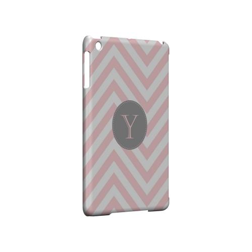 Gray Button Y on Pale Pink Zig Zags - Geeks Designer Line Monogram Series Hard Case for Apple iPad Mini