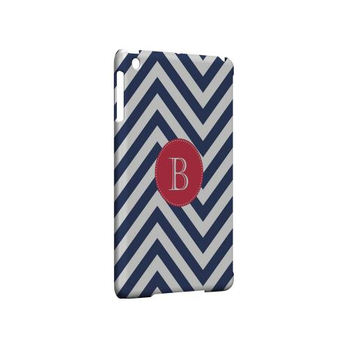 Cherry Button B on Navy Blue Zig Zags - Geeks Designer Line Monogram Series Hard Case for Apple iPad Mini