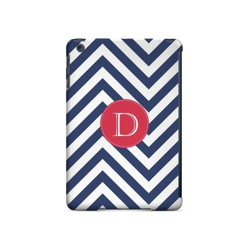 Cherry Button D on Navy Blue Zig Zags - Geeks Designer Line Monogram Series Hard Case for Apple iPad Mini