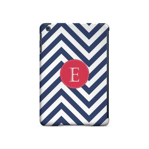 Cherry Button E on Navy Blue Zig Zags - Geeks Designer Line Monogram Series Hard Case for Apple iPad Mini