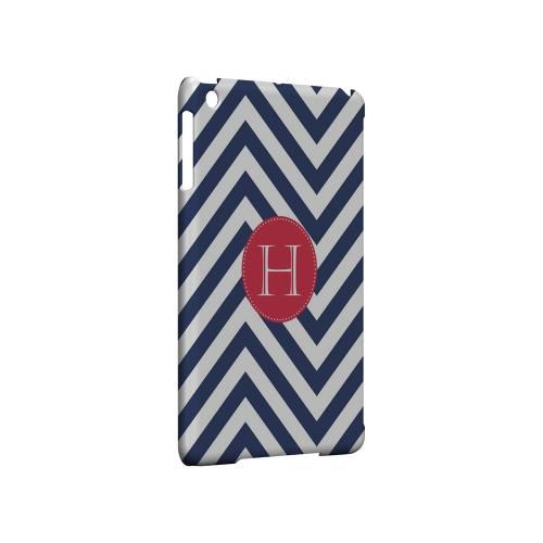 Cherry Button H on Navy Blue Zig Zags - Geeks Designer Line Monogram Series Hard Case for Apple iPad Mini