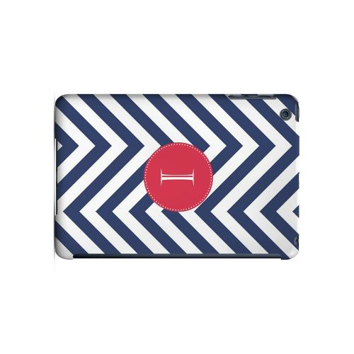 Cherry Button I on Navy Blue Zig Zags - Geeks Designer Line Monogram Series Hard Case for Apple iPad Mini