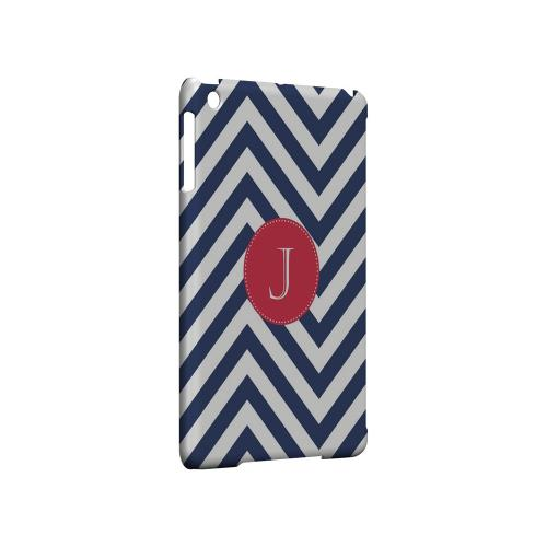 Cherry Button J on Navy Blue Zig Zags - Geeks Designer Line Monogram Series Hard Case for Apple iPad Mini