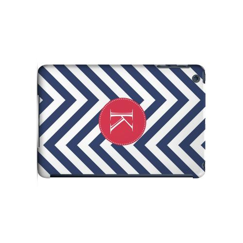 Cherry Button K on Navy Blue Zig Zags - Geeks Designer Line Monogram Series Hard Case for Apple iPad Mini