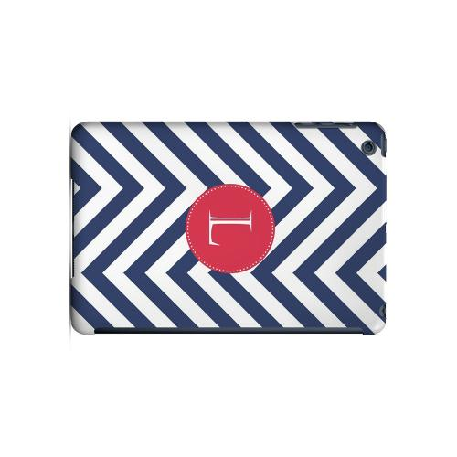Cherry Button L on Navy Blue Zig Zags - Geeks Designer Line Monogram Series Hard Case for Apple iPad Mini