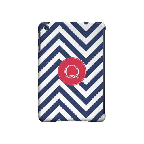 Cherry Button Q on Navy Blue Zig Zags - Geeks Designer Line Monogram Series Hard Case for Apple iPad Mini