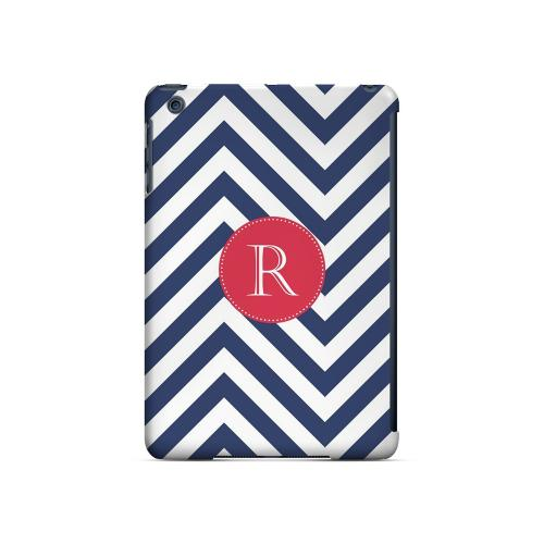 Cherry Button R on Navy Blue Zig Zags - Geeks Designer Line Monogram Series Hard Case for Apple iPad Mini