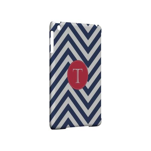 Cherry Button T on Navy Blue Zig Zags - Geeks Designer Line Monogram Series Hard Case for Apple iPad Mini