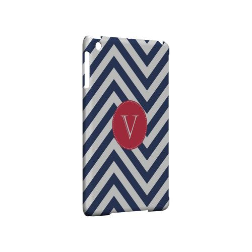 Cherry Button V on Navy Blue Zig Zags - Geeks Designer Line Monogram Series Hard Case for Apple iPad Mini