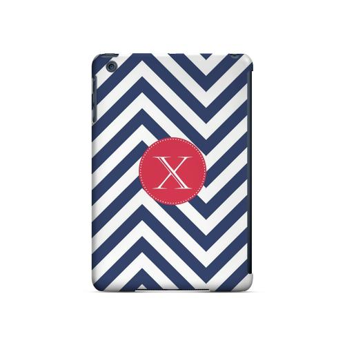 Cherry Button X on Navy Blue Zig Zags - Geeks Designer Line Monogram Series Hard Case for Apple iPad Mini