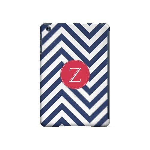 Cherry Button Z on Navy Blue Zig Zags - Geeks Designer Line Monogram Series Hard Case for Apple iPad Mini
