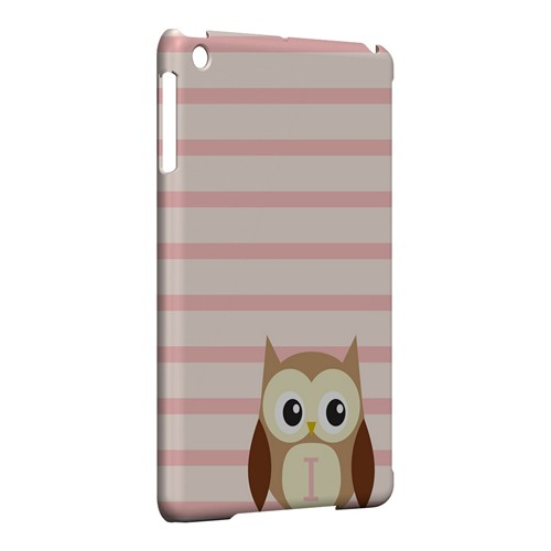 Brown Owl Monogram I on Pink Stripes - Geeks Designer Line Owl Series Hard Case for Apple iPad Mini