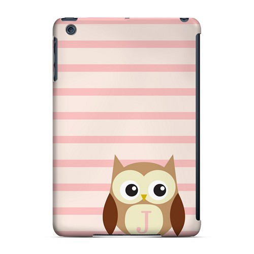 Brown Owl Monogram J on Pink Stripes - Geeks Designer Line Owl Series Hard Case for Apple iPad Mini