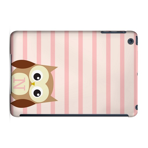 Brown Owl Monogram N on Pink Stripes - Geeks Designer Line Owl Series Hard Case for Apple iPad Mini