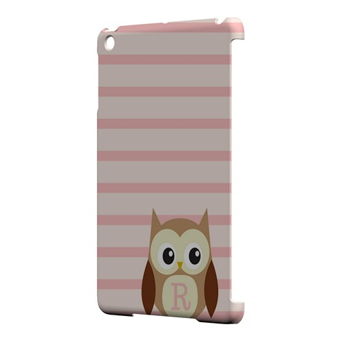 Brown Owl Monogram R on Pink Stripes - Geeks Designer Line Owl Series Hard Case for Apple iPad Mini