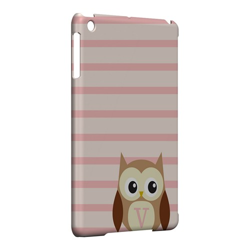 Brown Owl Monogram V on Pink Stripes - Geeks Designer Line Owl Series Hard Case for Apple iPad Mini