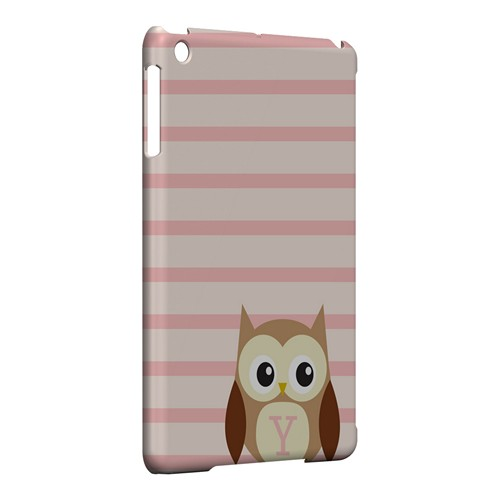 Brown Owl Monogram Y on Pink Stripes - Geeks Designer Line Owl Series Hard Case for Apple iPad Mini