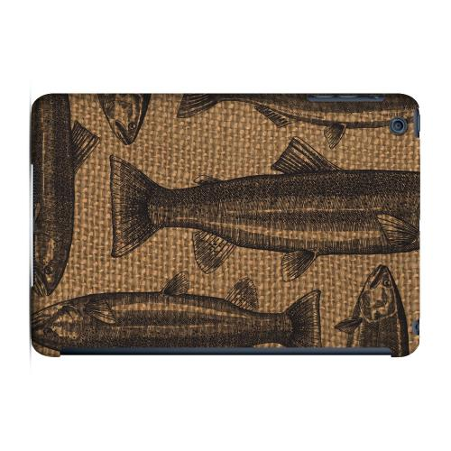 Geeks Designer Line (GDL) Slim Hard Case for Apple iPad Mini - Vintage Salmon & Trout on Burlap