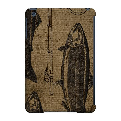 Geeks Designer Line (GDL) Slim Hard Case for Apple iPad Mini - Vintage Salmon/Hook/Pole Print
