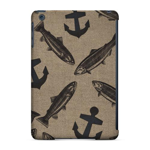 Geeks Designer Line (GDL) Slim Hard Case for Apple iPad Mini - Vintage Salmon/Trout/Anchor Design