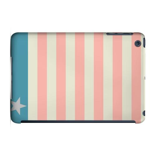 Geeks Designer Line (GDL) Slim Hard Case for Apple iPad Mini - Bars & Stripes Forever on Pink/ Teal