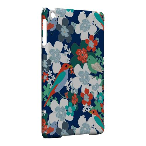 Geeks Designer Line (GDL) Slim Hard Case for Apple iPad Mini - Birds & Flowers on Blue/ Red