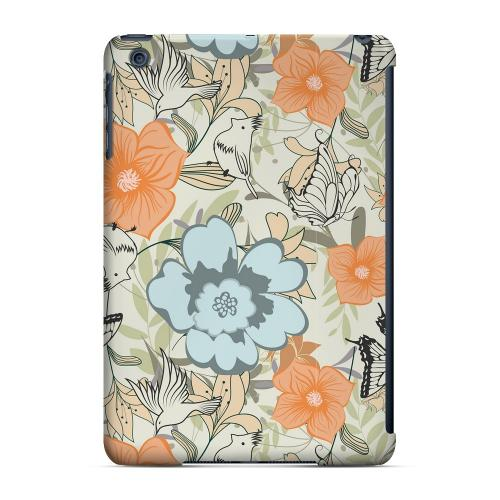 Geeks Designer Line (GDL) Slim Hard Case for Apple iPad Mini - Butterflies & Birds on Orange/ Blue