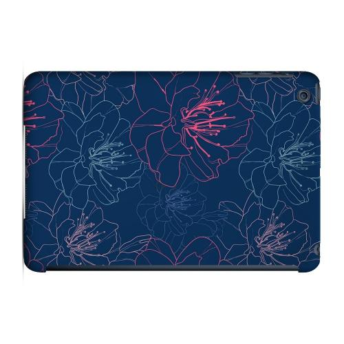 Geeks Designer Line (GDL) Slim Hard Case for Apple iPad Mini - Flower Outline on Blue