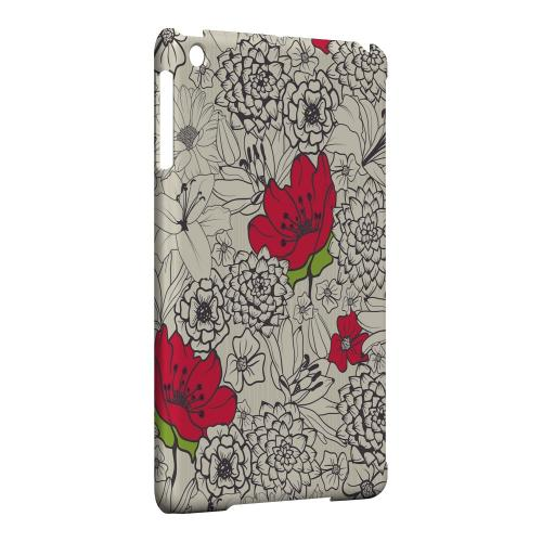 Geeks Designer Line (GDL) Slim Hard Case for Apple iPad Mini - Flower Outline Red Accent